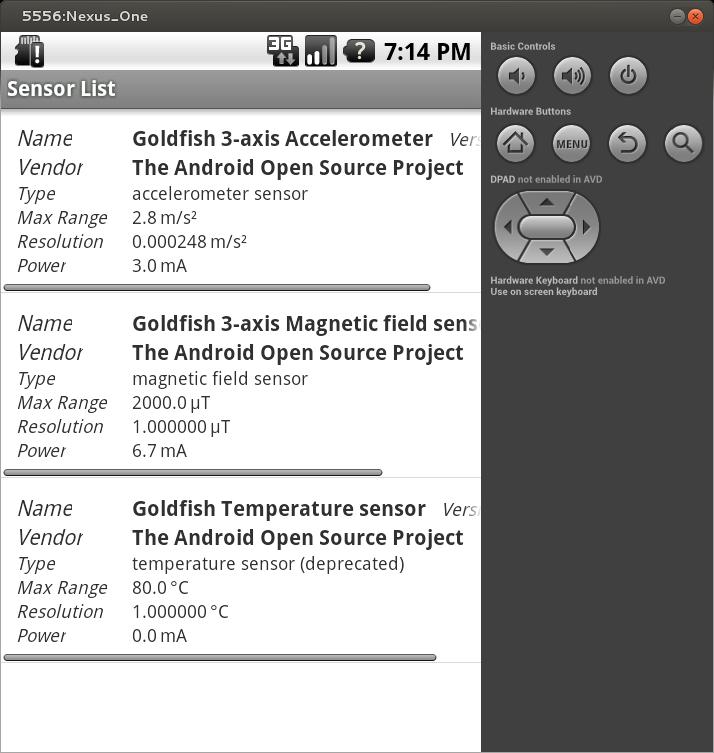 List of the sensors in an Android deviceElenco dei sensori in un